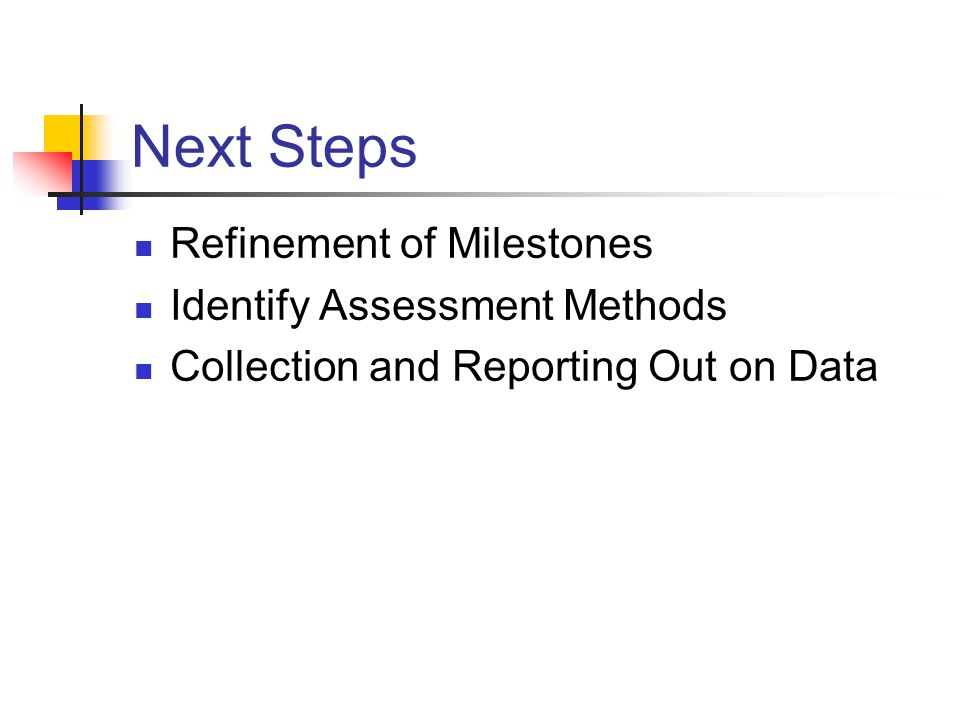 Next Steps Refinement of Milestones Identify Assessment Methods