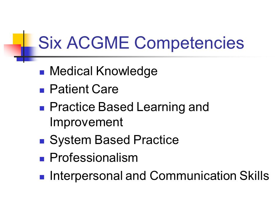 Six ACGME Competencies