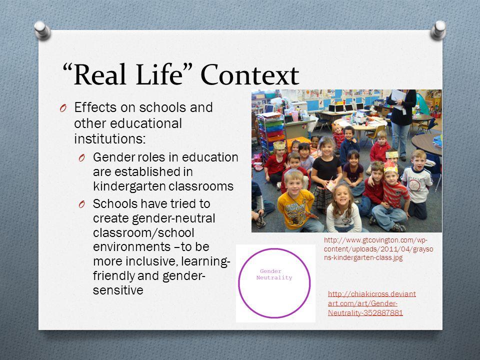 Real Life Context Effects on schools and other educational institutions: Gender roles in education are established in kindergarten classrooms.