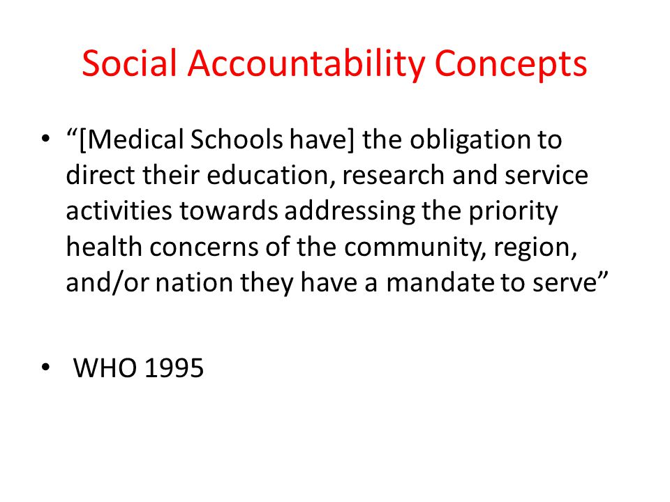 Social Accountability Concepts