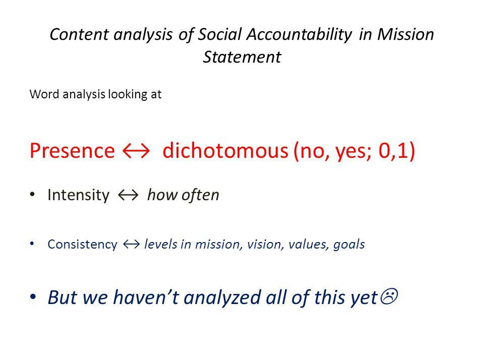 Content analysis of Social Accountability in Mission Statement