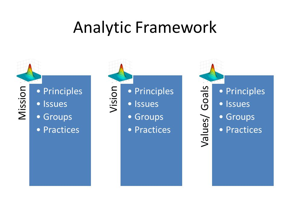 Analytic Framework Mission Vision Values/ Goals Principles Issues