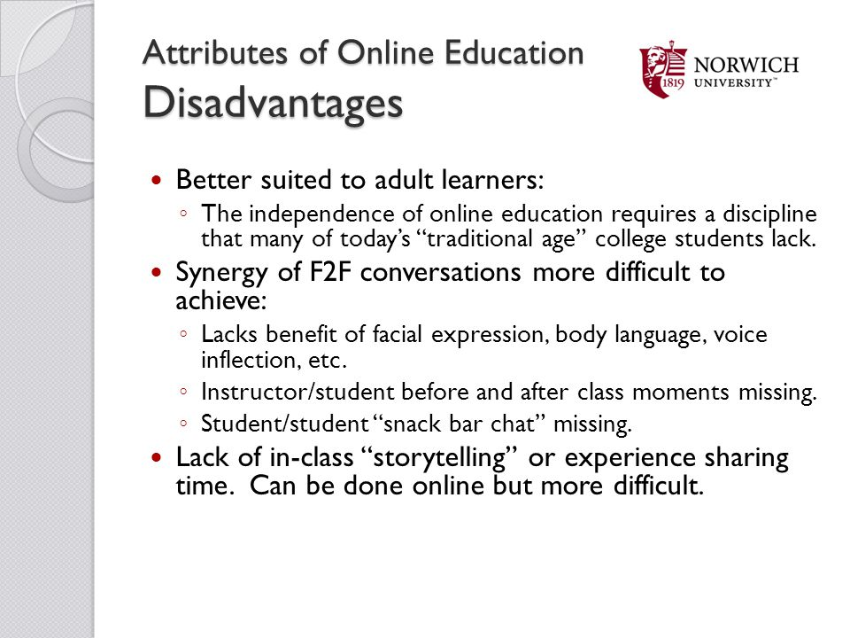 Attributes of Online Education Disadvantages