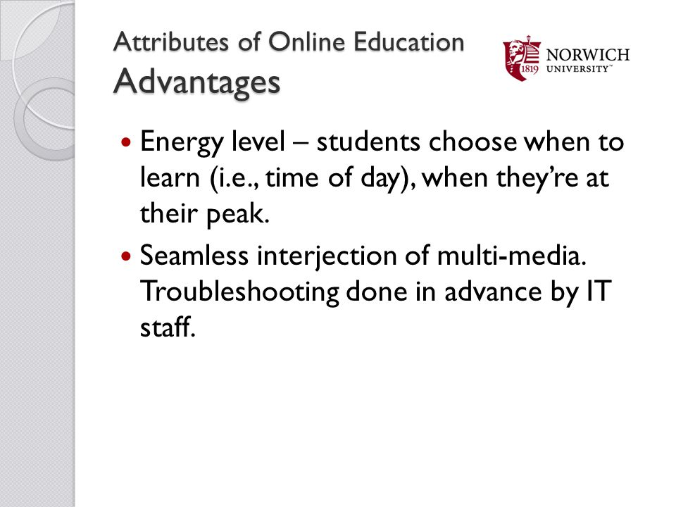 Attributes of Online Education Advantages
