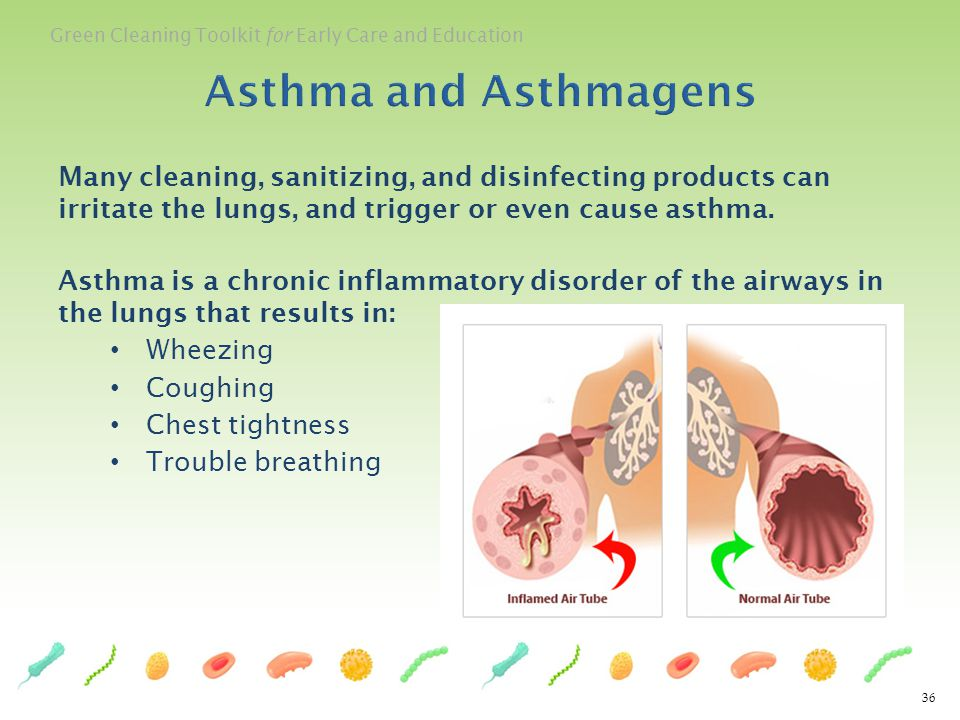Asthma and Asthmagens Many cleaning, sanitizing, and disinfecting products can irritate the lungs, and trigger or even cause asthma.