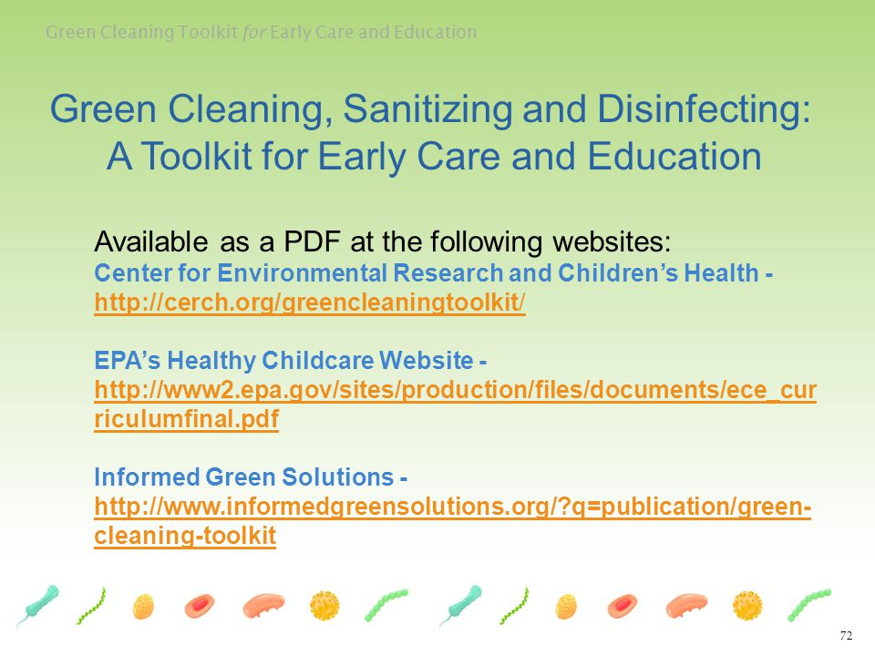 Green Cleaning, Sanitizing and Disinfecting: