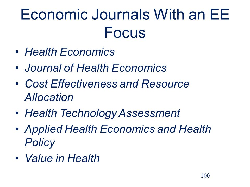 Economic Journals With an EE Focus