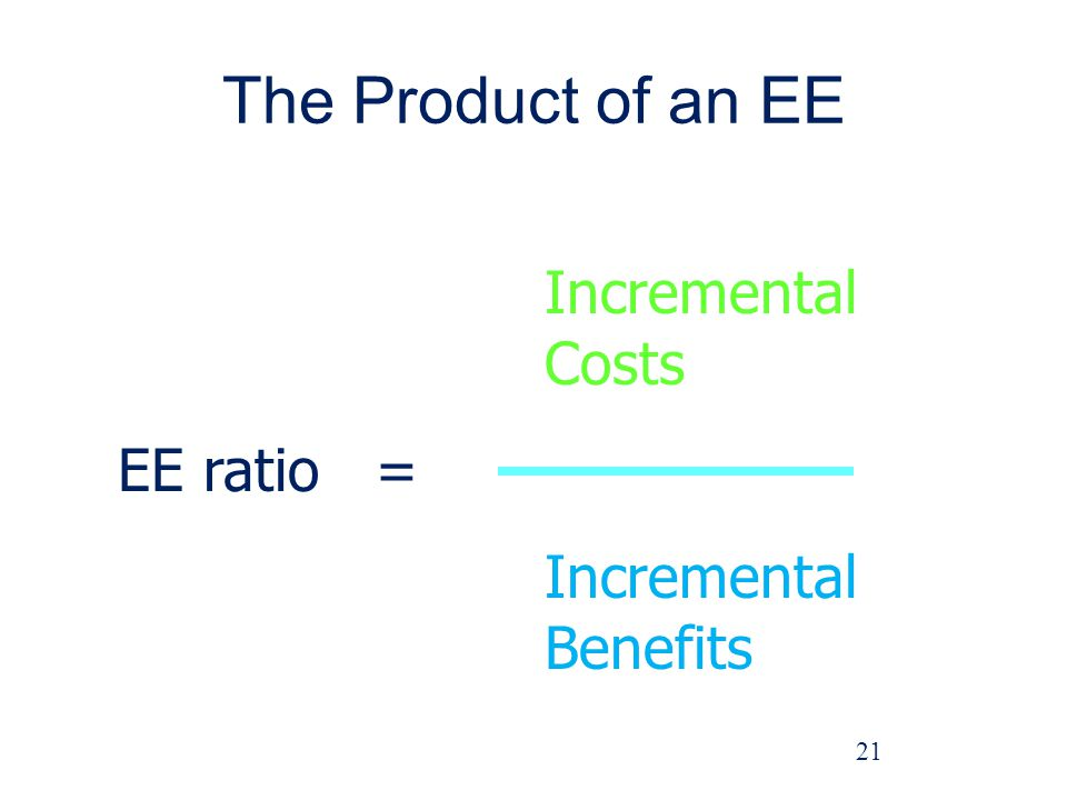 The Product of an EE Incremental Costs EE ratio = Incremental Benefits