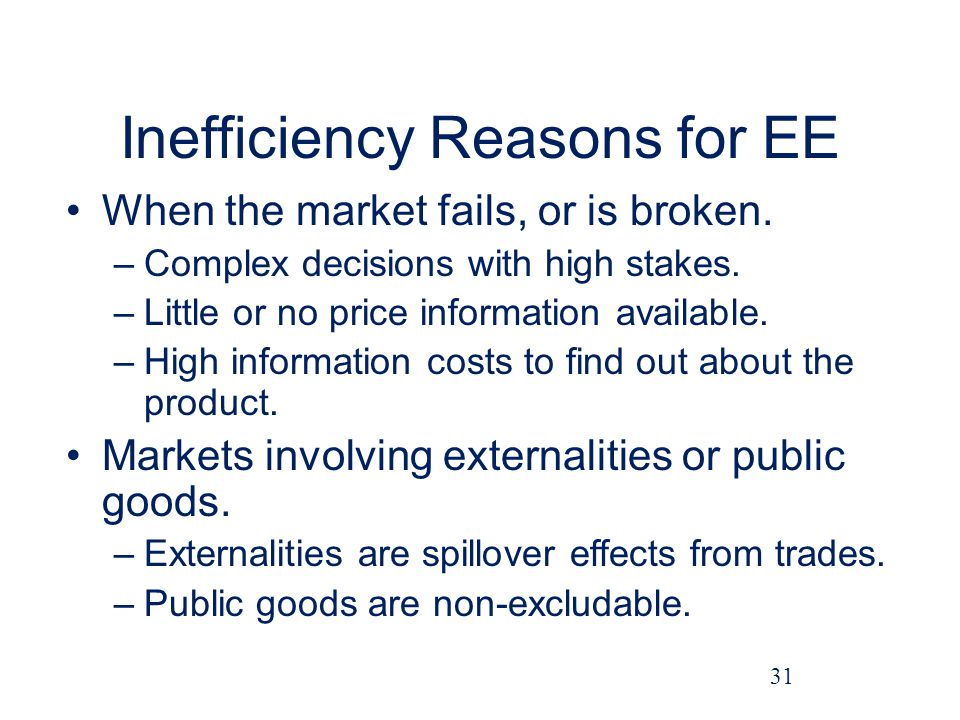 Inefficiency Reasons for EE