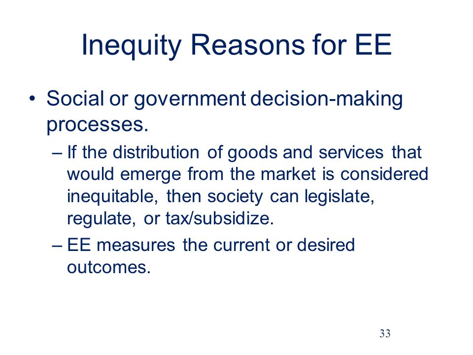 Inequity Reasons for EE