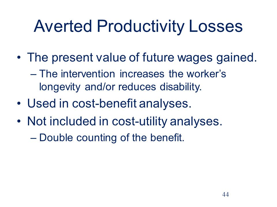 Averted Productivity Losses