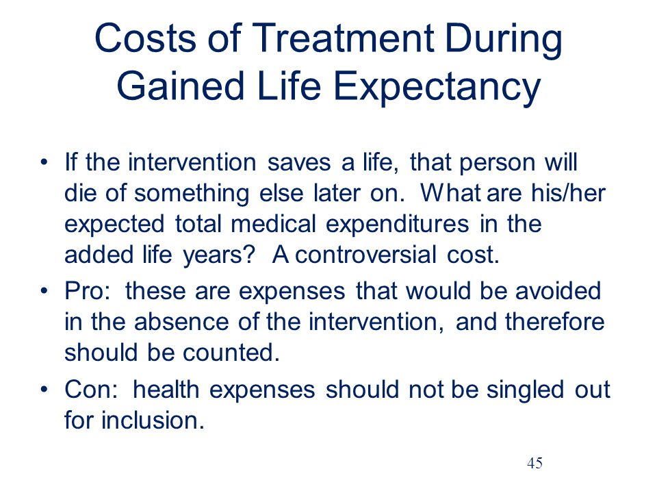 Costs of Treatment During Gained Life Expectancy