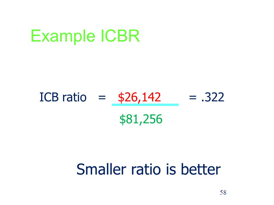 Example ICBR Smaller ratio is better ICB ratio = $26,142 = .322