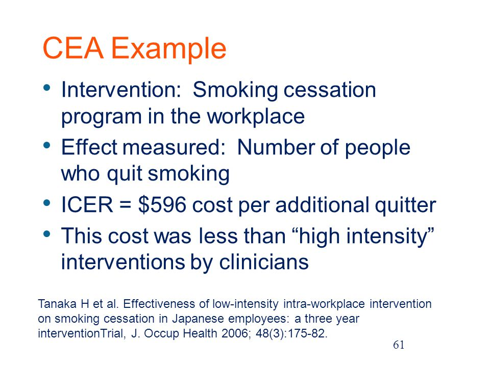 CEA Example Intervention: Smoking cessation program in the workplace