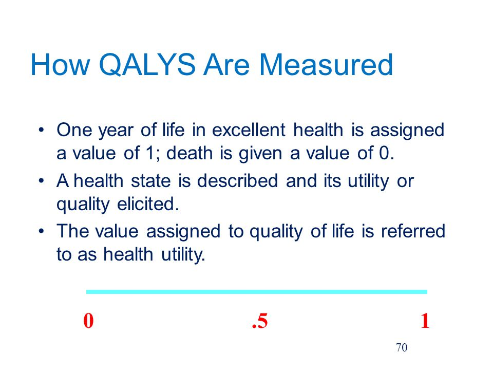 How QALYS Are Measured One year of life in excellent health is assigned a value of 1; death is given a value of 0.