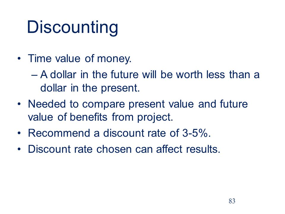 Discounting Time value of money.