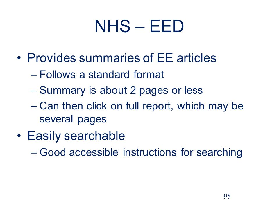 NHS – EED Provides summaries of EE articles Easily searchable
