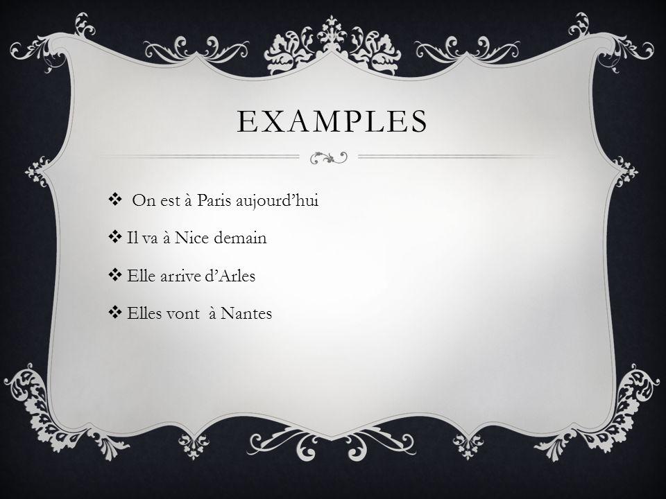 Examples On est à Paris aujourd'hui Il va à Nice demain