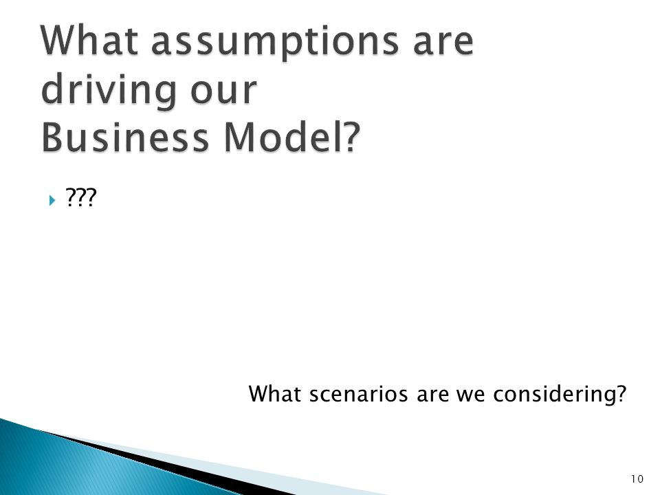 What assumptions are driving our Business Model