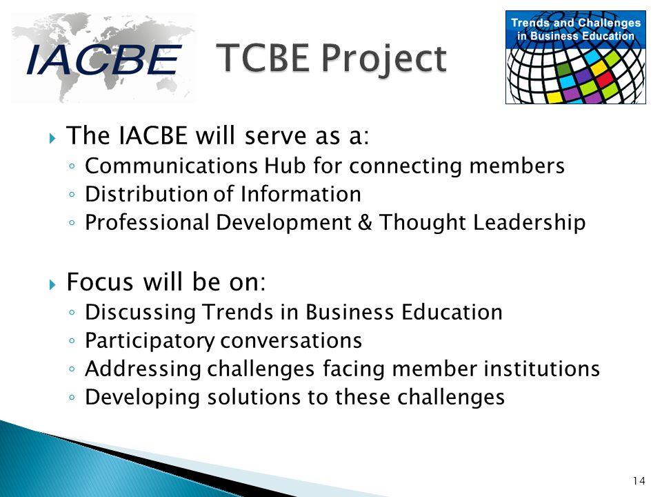 TCBE Project The IACBE will serve as a: Focus will be on: