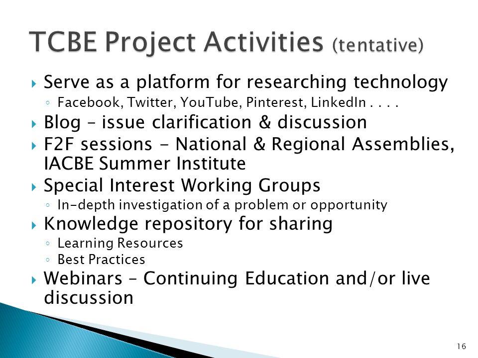 TCBE Project Activities (tentative)