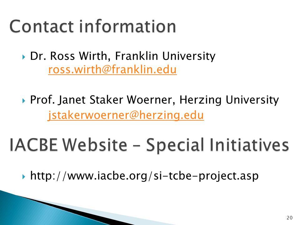 IACBE Website – Special Initiatives