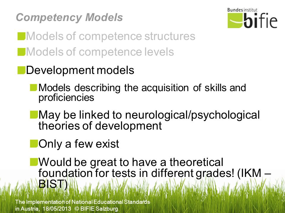 Models of competence structures Models of competence levels