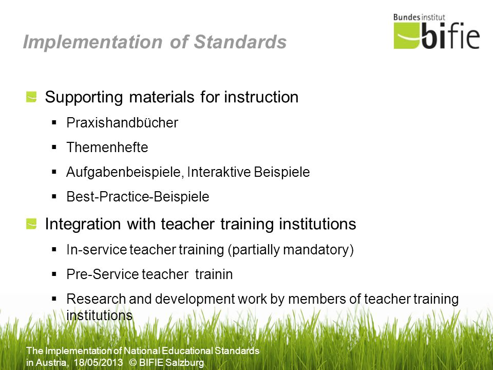 Implementation of Standards