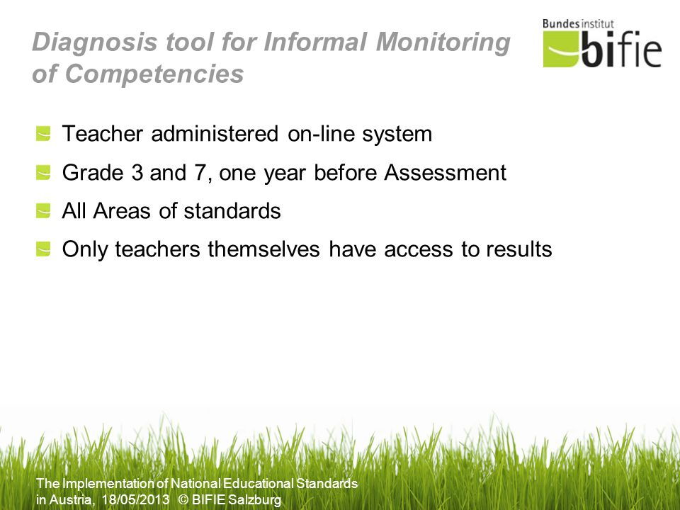 Diagnosis tool for Informal Monitoring of Competencies