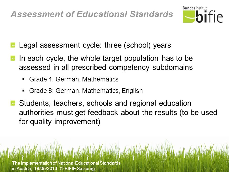 Assessment of Educational Standards