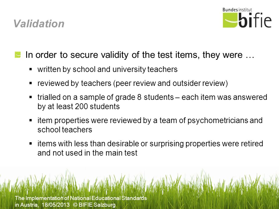 Validation In order to secure validity of the test items, they were …