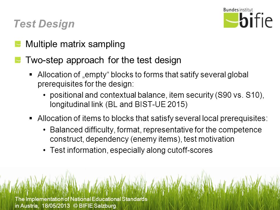 Test Design Multiple matrix sampling