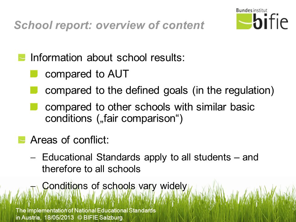 School report: overview of content