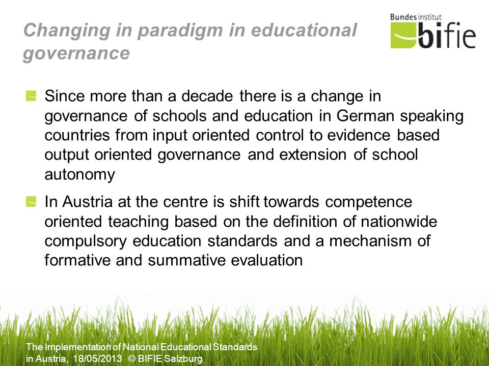 Changing in paradigm in educational governance
