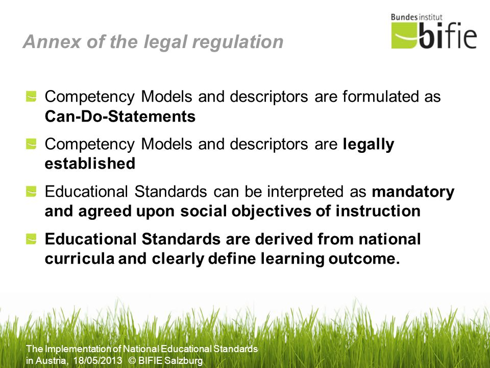 Annex of the legal regulation