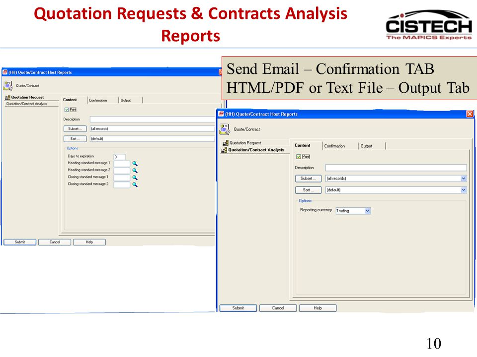 Quotation Requests & Contracts Analysis Reports