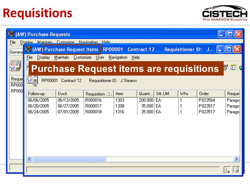 Requisitions Purchase Request items are requisitions