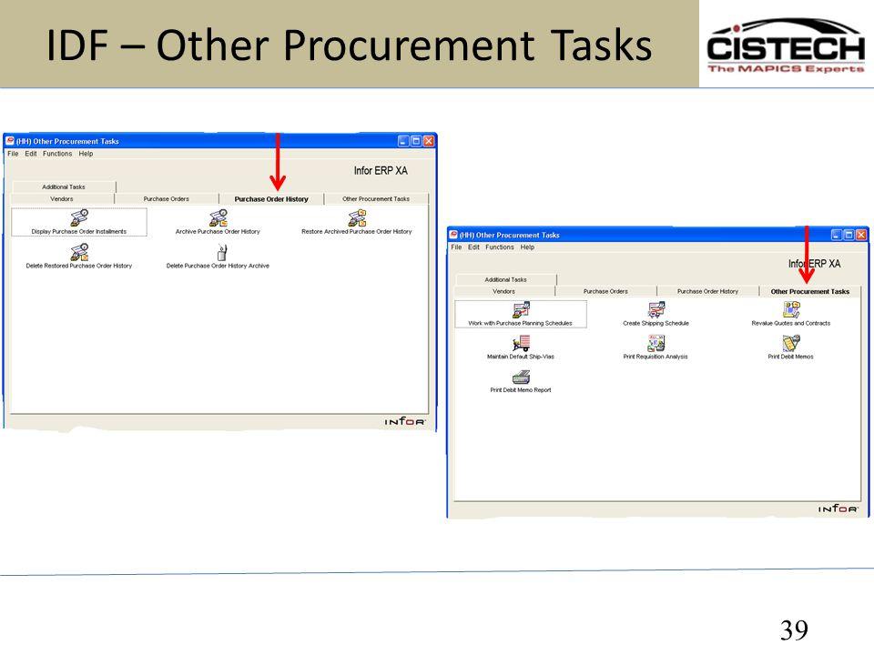 IDF – Other Procurement Tasks