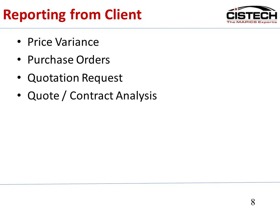 Reporting from Client Price Variance Purchase Orders Quotation Request