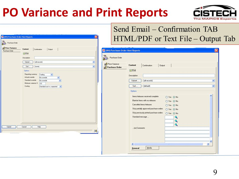 PO Variance and Print Reports