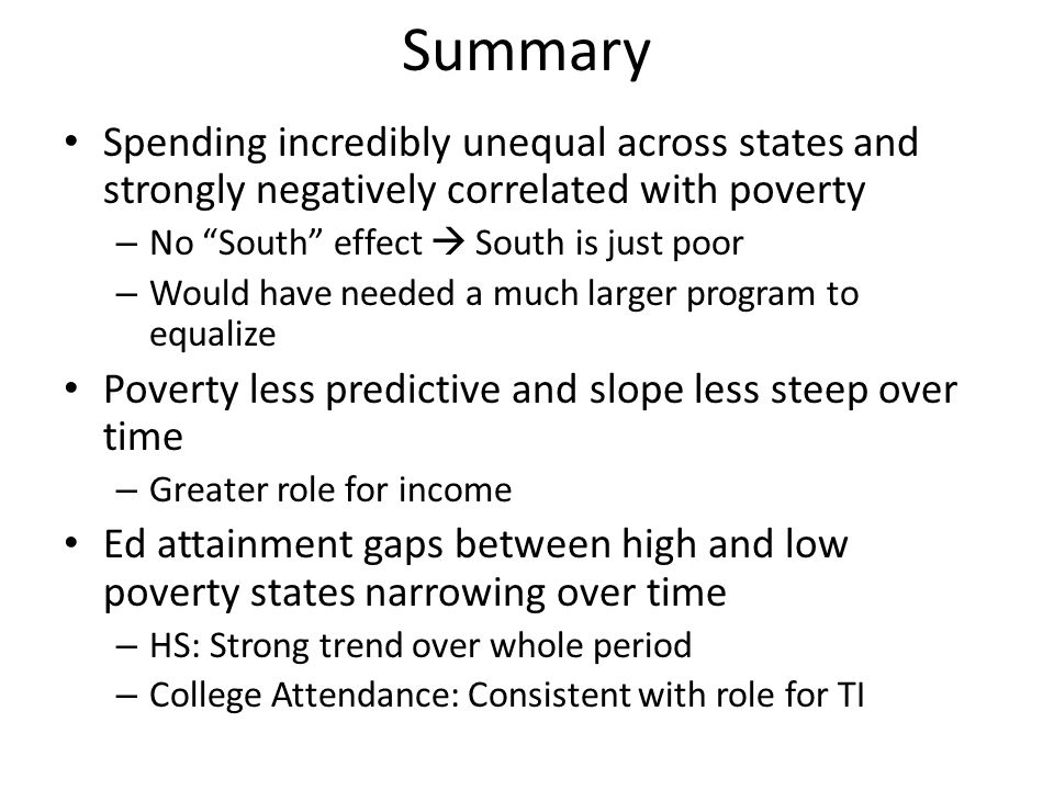 Summary Spending incredibly unequal across states and strongly negatively correlated with poverty. No South effect  South is just poor.