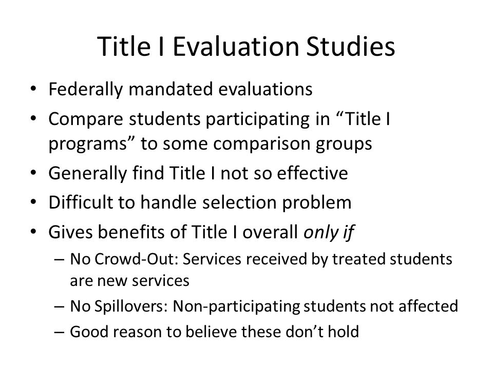Title I Evaluation Studies