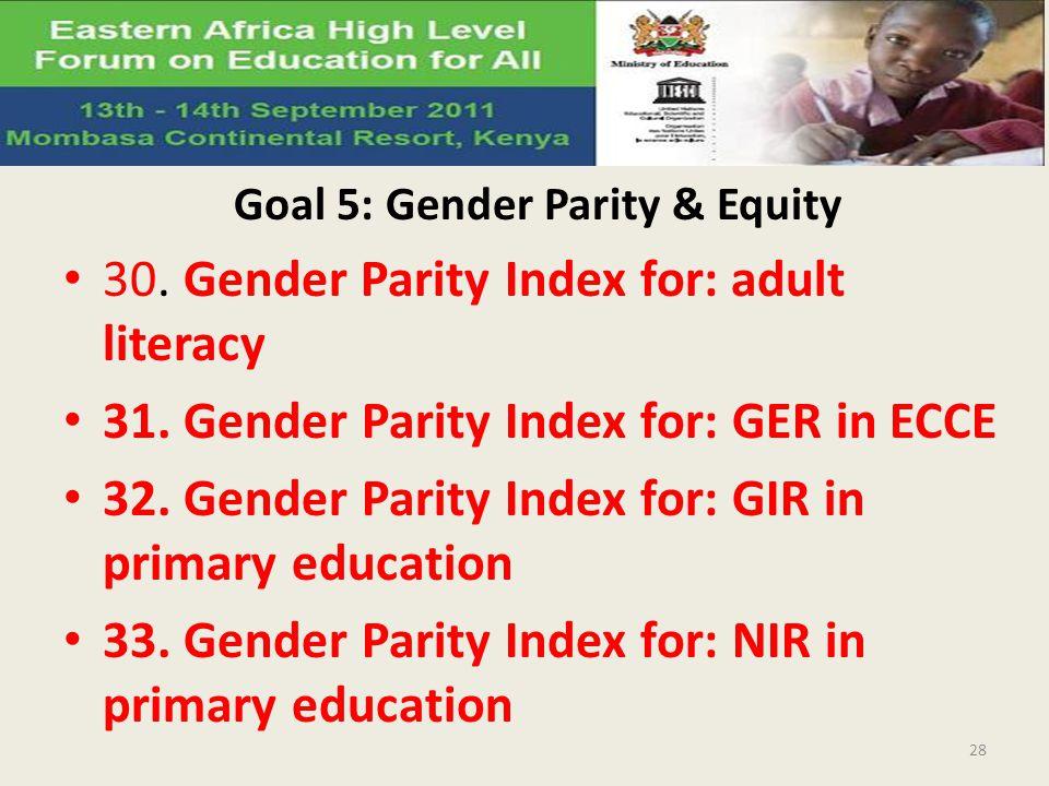 Goal 5: Gender Parity & Equity