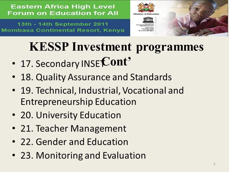 KESSP Investment programmes Cont'