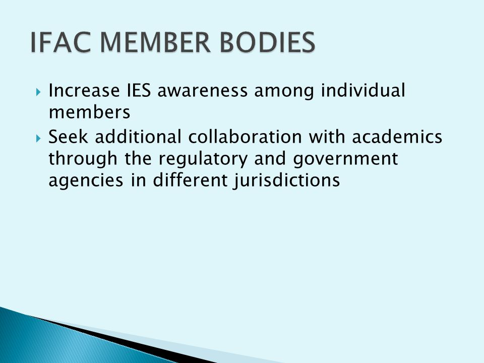 IFAC MEMBER BODIES Increase IES awareness among individual members
