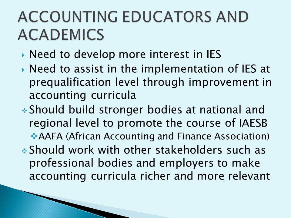 ACCOUNTING EDUCATORS AND ACADEMICS