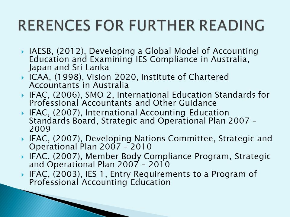 RERENCES FOR FURTHER READING