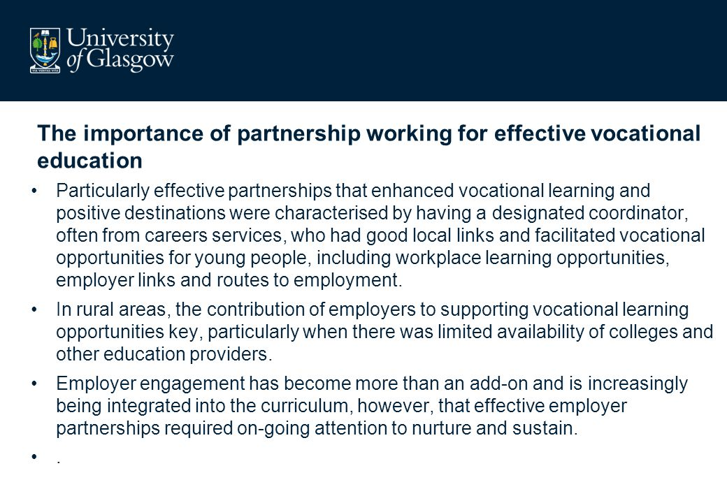 The importance of partnership working for effective vocational education