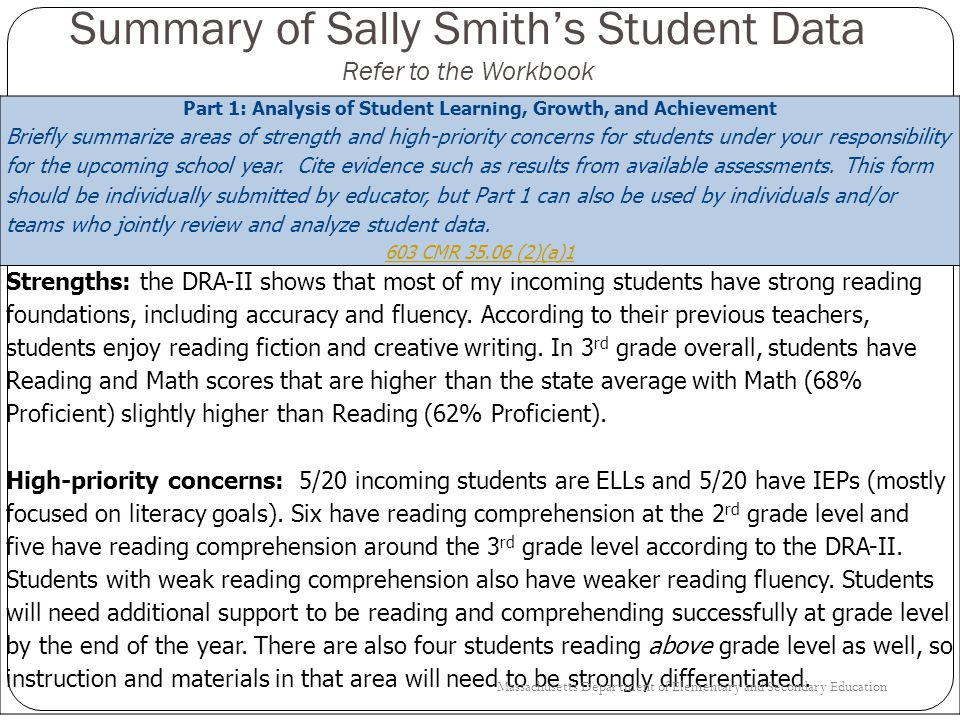 Summary of Sally Smith's Student Data Refer to the Workbook