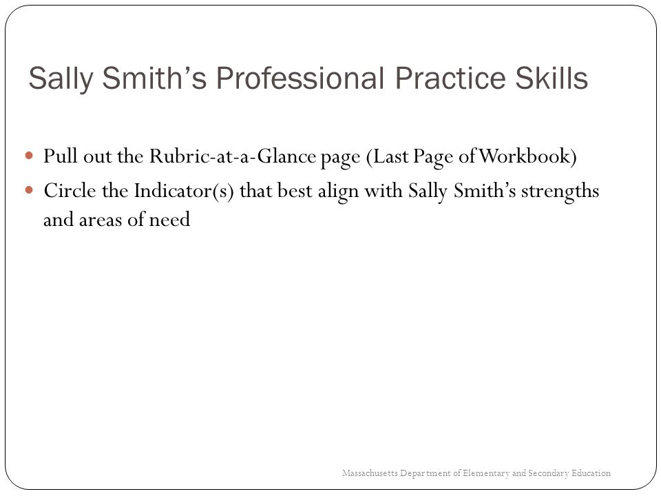 Sally Smith's Professional Practice Skills